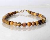 Picture jasper bracelet, yoga bracelet, friendship bracelet, stackable bracelet