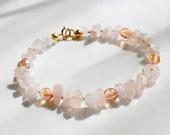 Rose quartz bracelet, arm candy bracelet, stackable bracelet, friendship bracelet