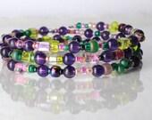 Amethyst bracelet, memory wire bracelet, bead soup bracelet, February birthstone