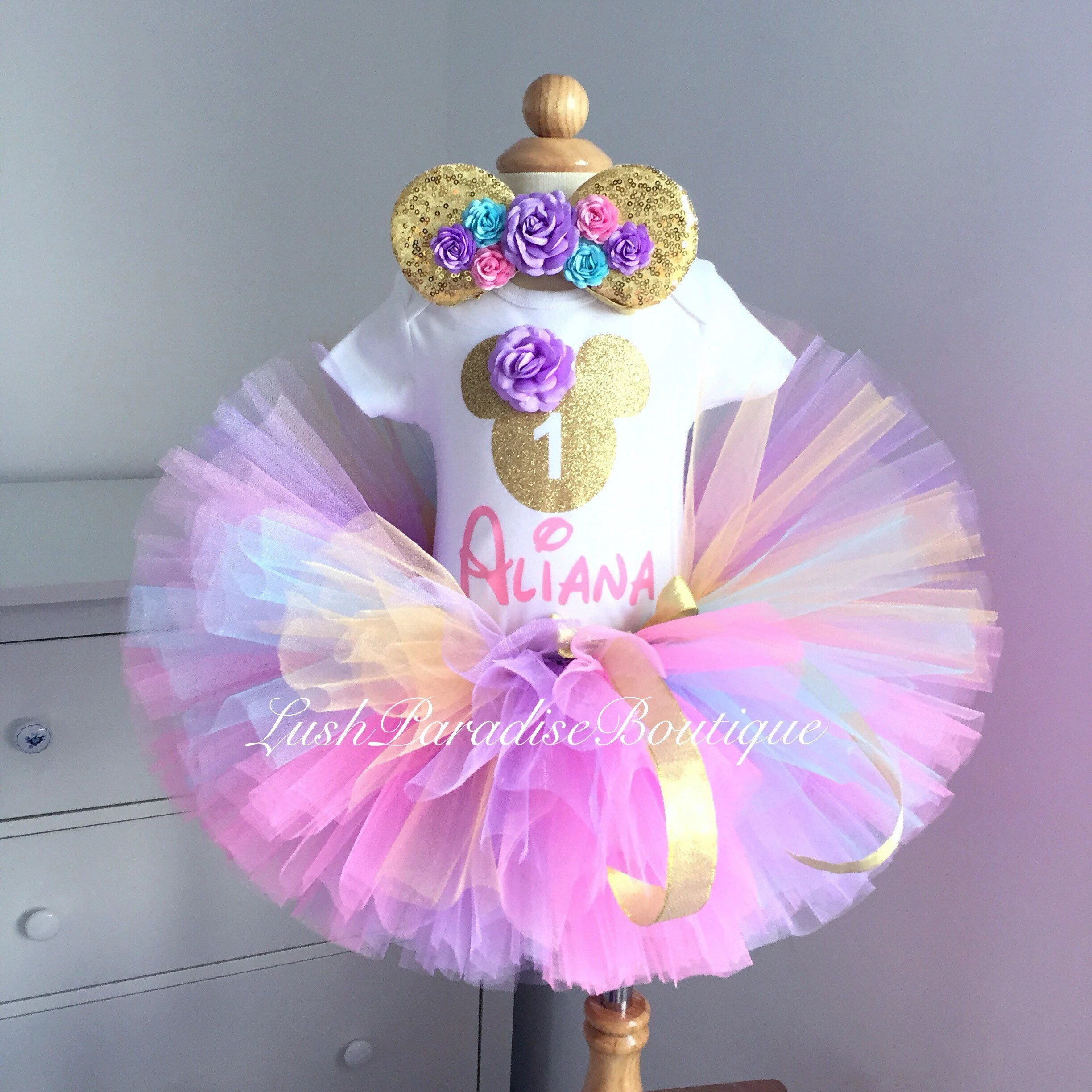 Pink Lavender And Gold Minnie Mouse Birthday Outfit Minnie Etsy