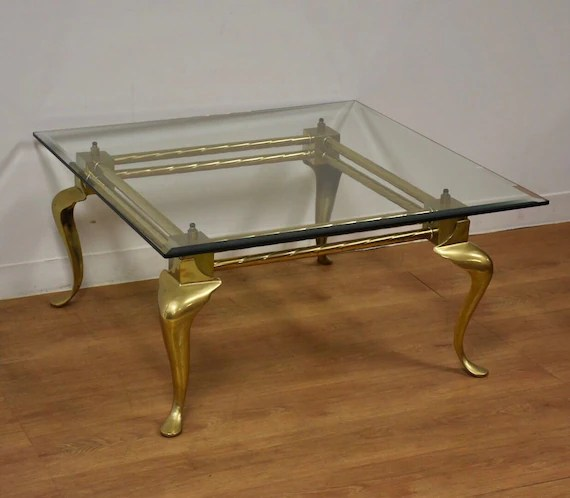 brass glass labarge square coffee table