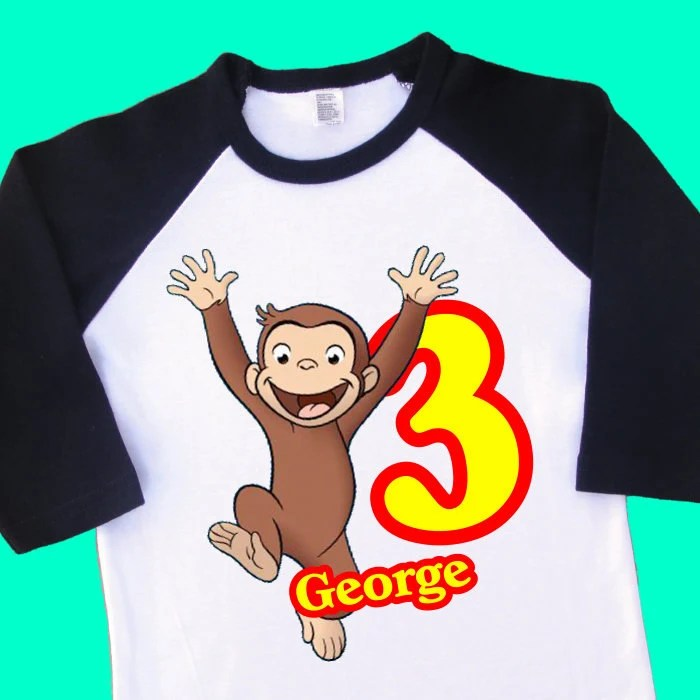 Curious George Birthday Shirt Personalized Raglan With Name Etsy