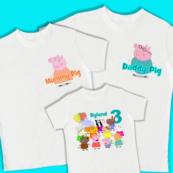 Peppa Pig Birthday Shirts Set Of 3 Family Birthday T Shirts Etsy