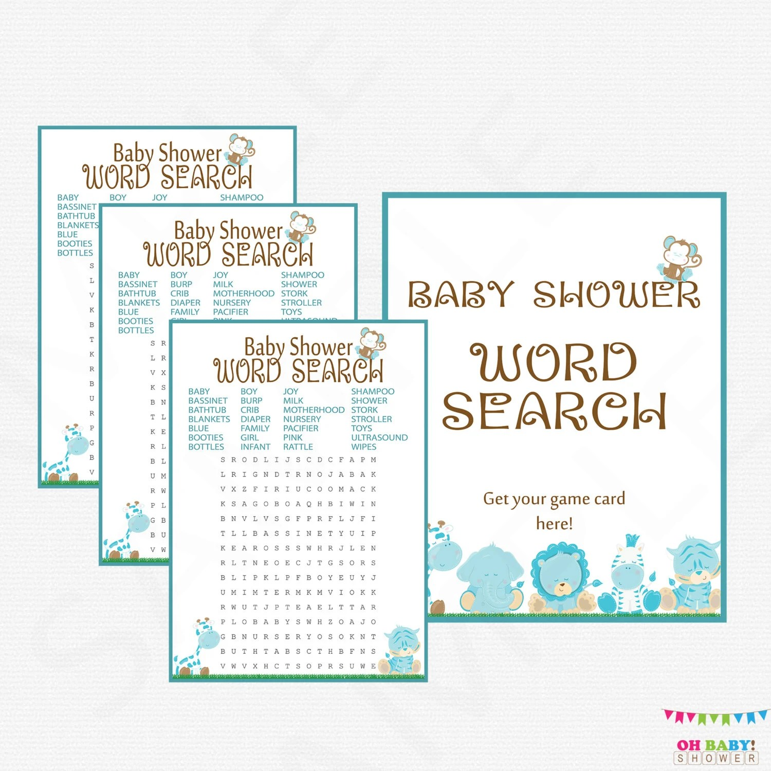 Blue Safari Baby Shower Games Word Search Baby Shower