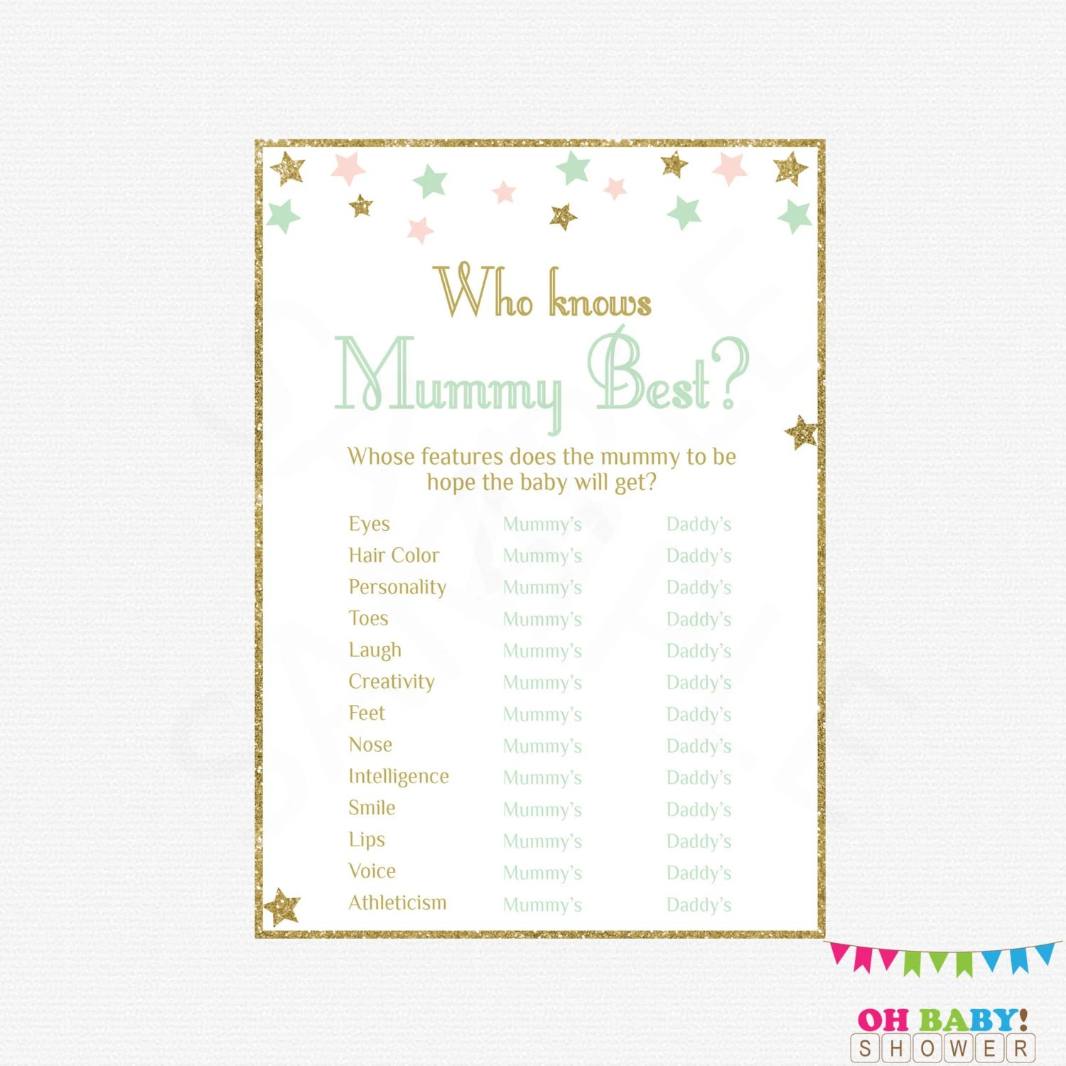 Pink Mint Gold Baby Shower Games Twinkle Twinkle Little Star