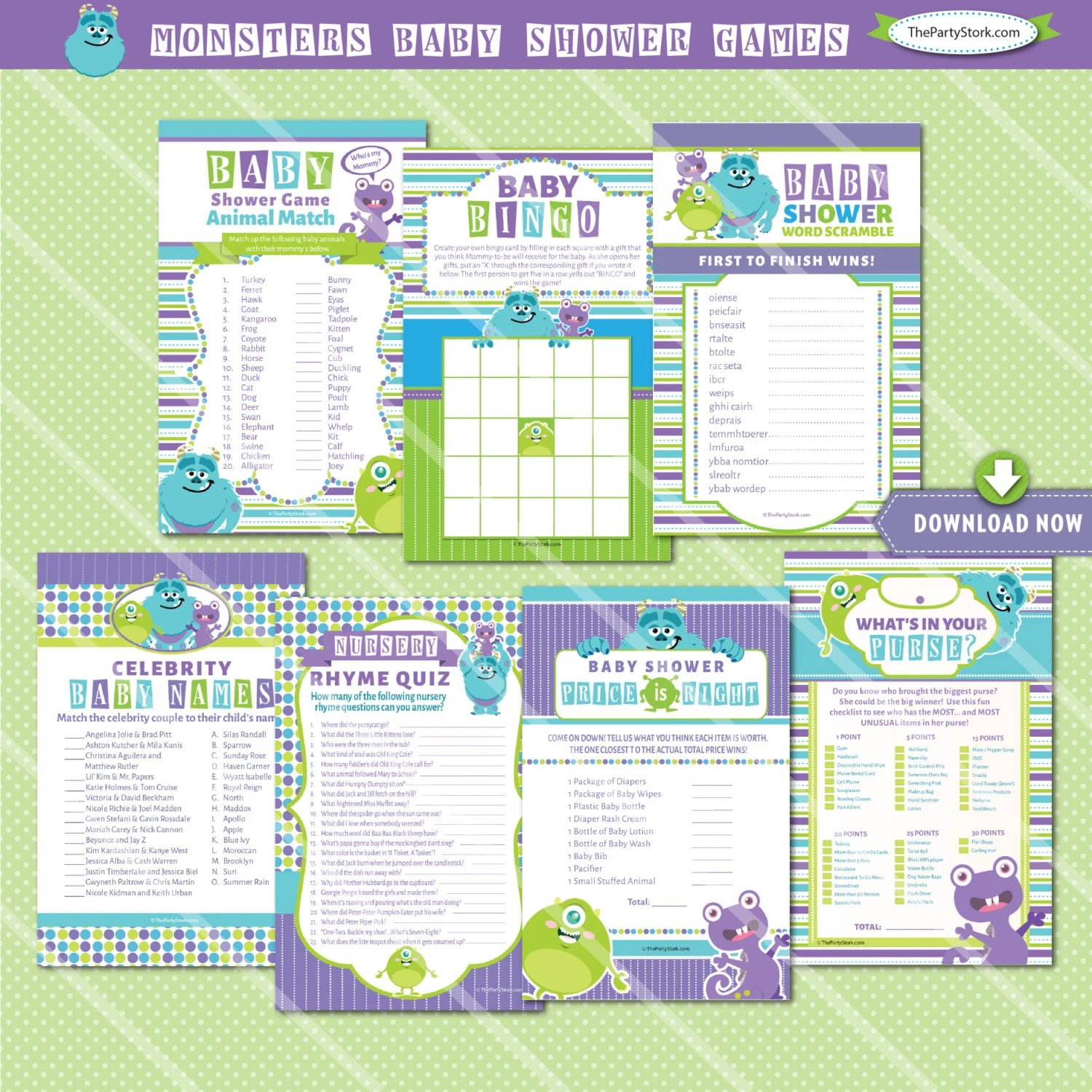 Monsters Inc Baby Shower Games Printables Monster Baby