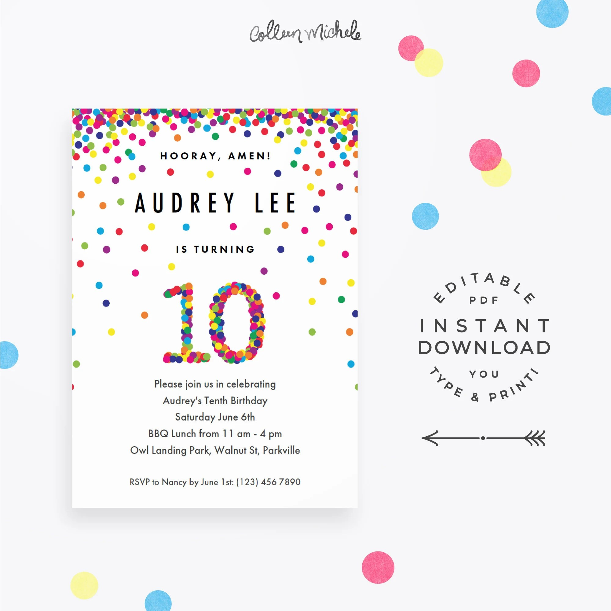 rainbow 10th birthday party invitation instant download printable pdf cute confetti birthday invitations for 10 year old girl or boy