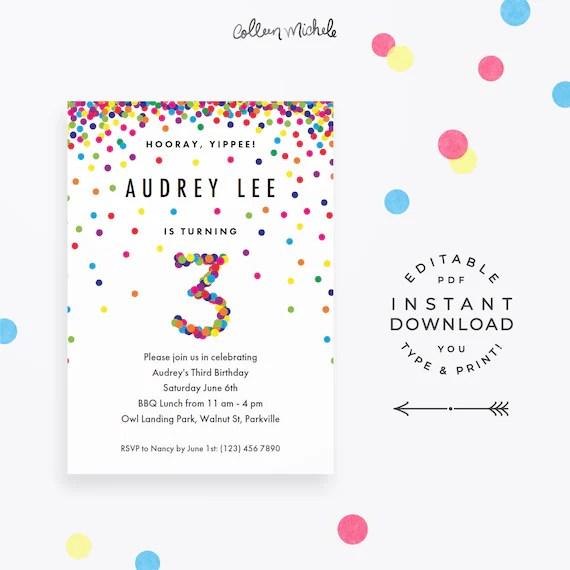 rainbow 3rd birthday invitation instant download pdf cute confetti 3rd birthday invite for a 3 year old birthday boy or girl