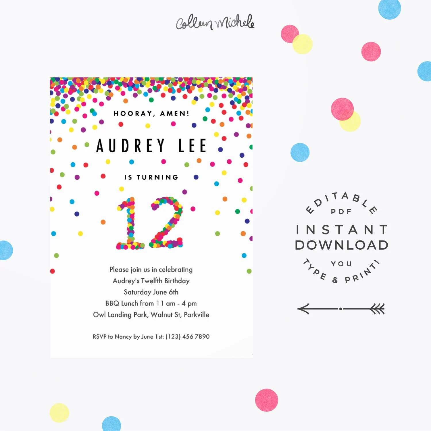 Rainbow 12th Birthday Invitation Instant Download Printable Pdf Cute Confetti Birthday Party Invitations For 12 Year Old Girl Or Boy