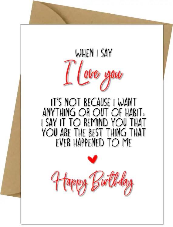 Birthday Card Romantic Love Wife Husband Boyfriend Girlfriend Etsy