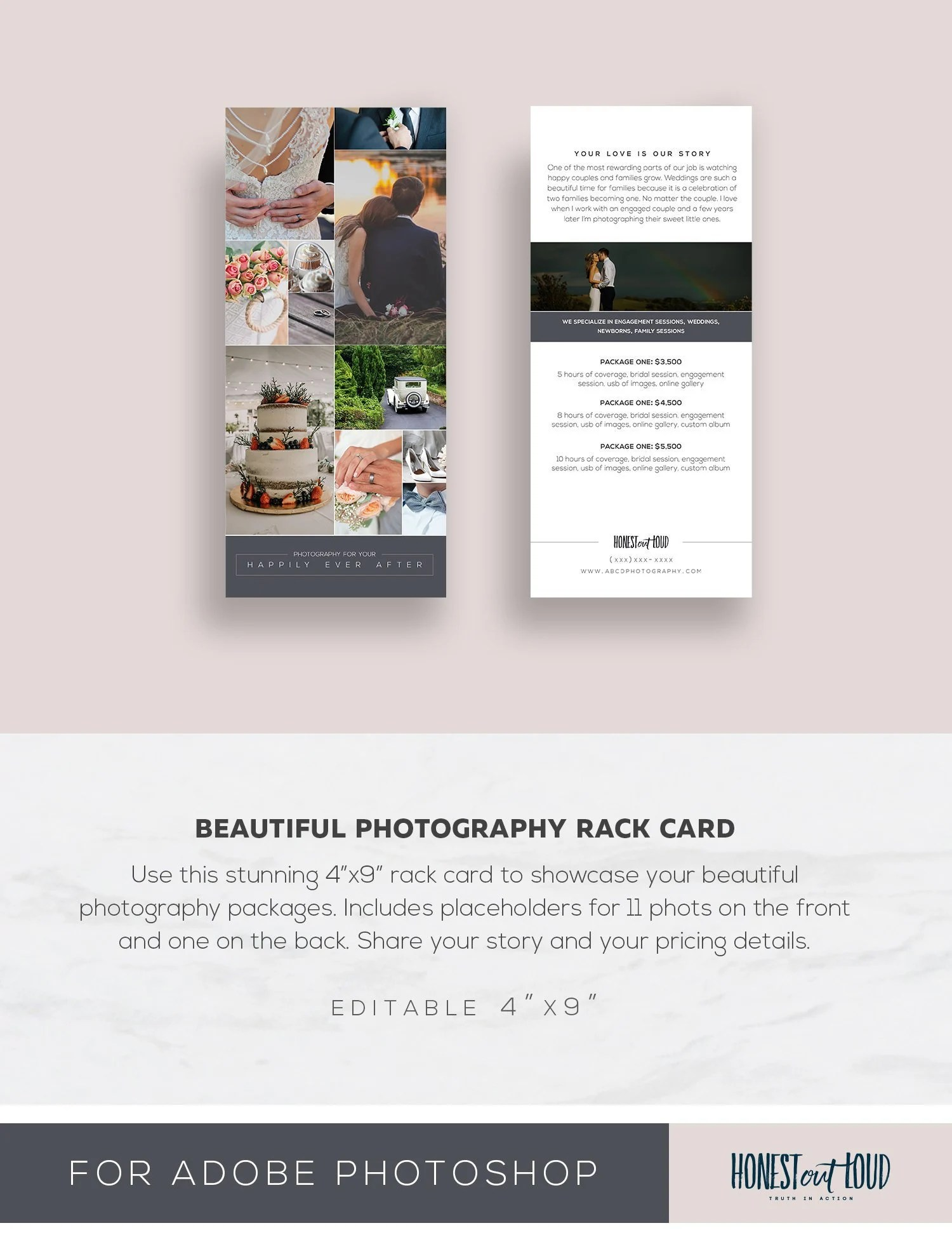 Wedding Photography Rack Card Template 4x9 Photoshop Instant Download Printable Editable Psd Promo Card Professional Photographer