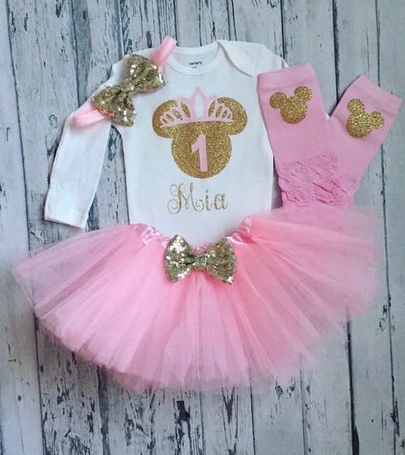 Pink And Gold 1st Birthday Outfit Minnie Mouse 1st Birthday Etsy