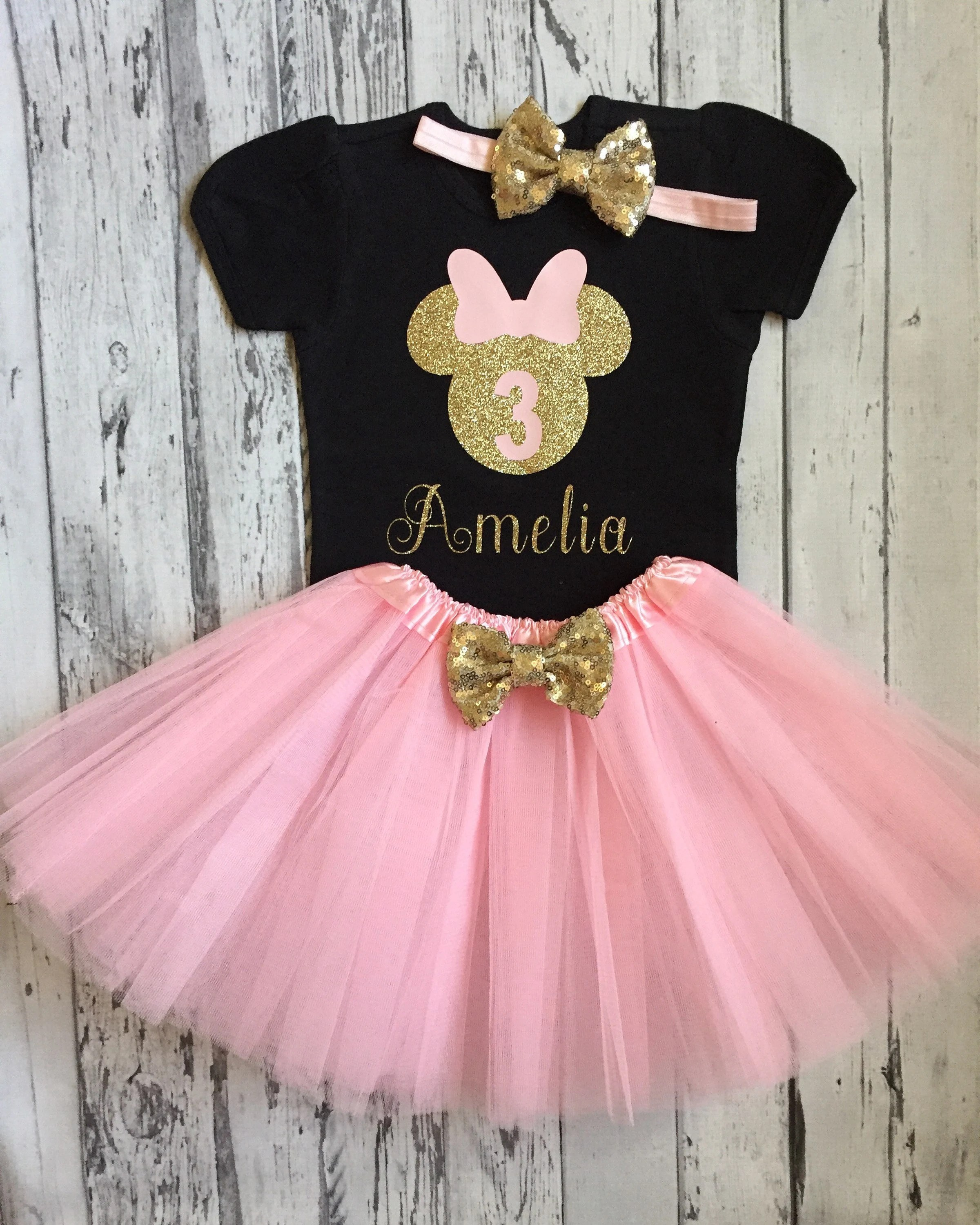 Pink And Gold Personalized Minnie Mouse 3rd Birthday Shirt Etsy