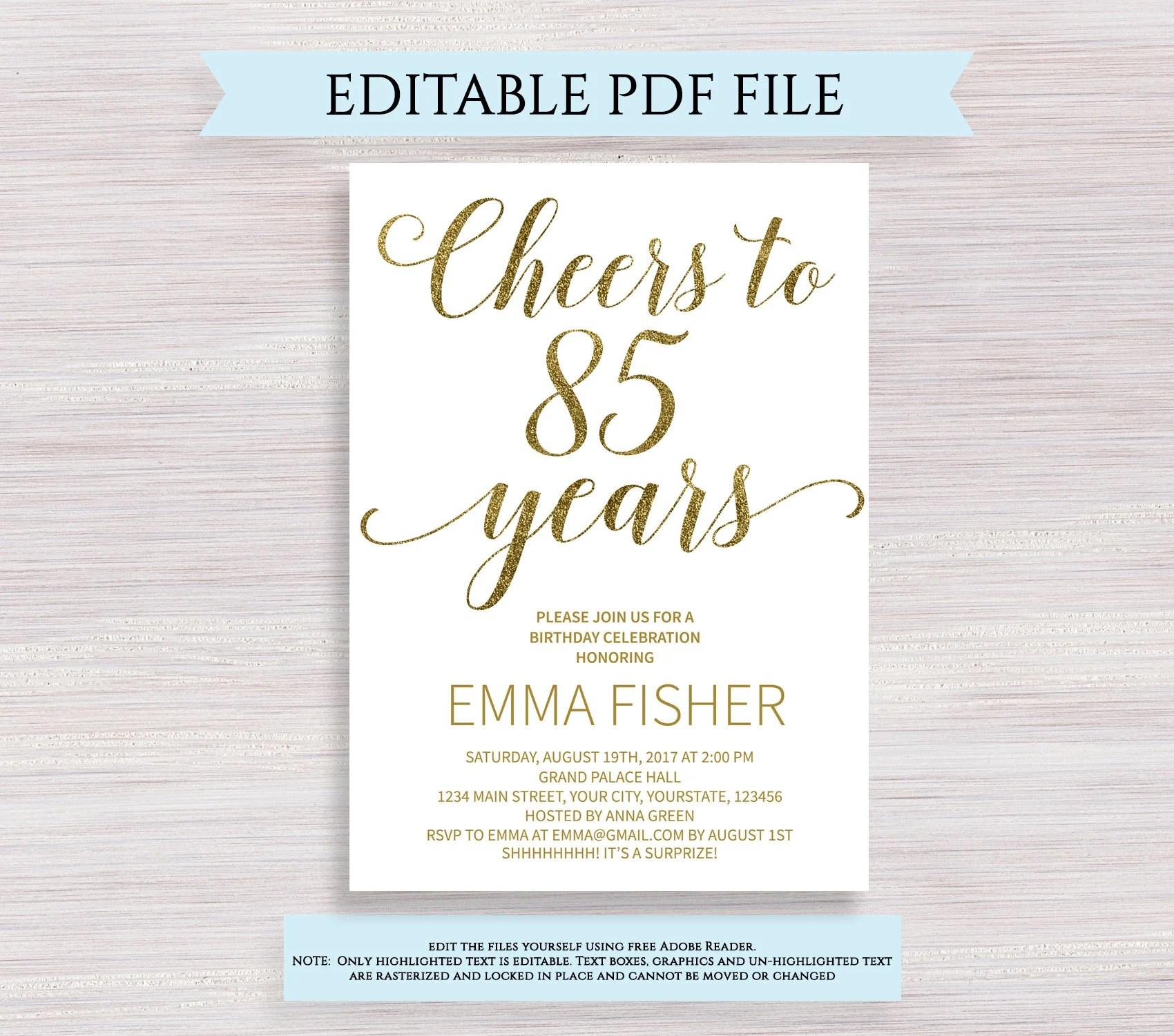 editable 85th birthday party invitation template cheers to 85 years 85th anniversary invitation gold birthday invite printable digital pdf