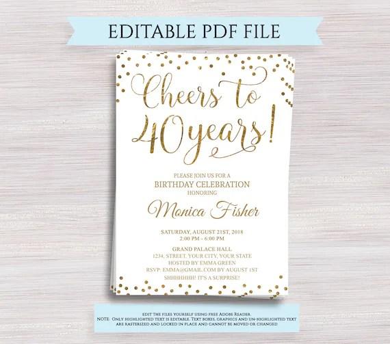 Editable 40th Birthday Party Invitation Template Cheers To 40 Years 40th Anniversary Invitation Gold Birthday Invite Digital Printable Pdf