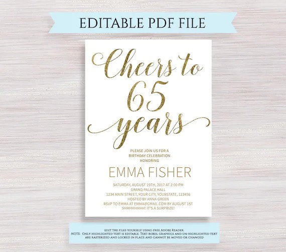 editable 65th birthday party invitation template cheers to 65 years 65th anniversary invitation gold birthday invite printable digital pdf