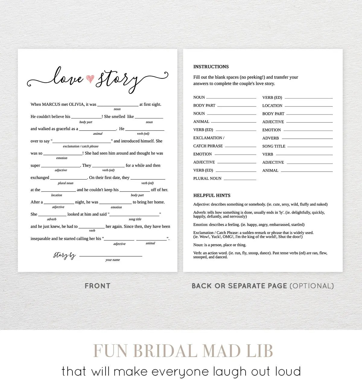 Bridal Shower Mad Libs Printable