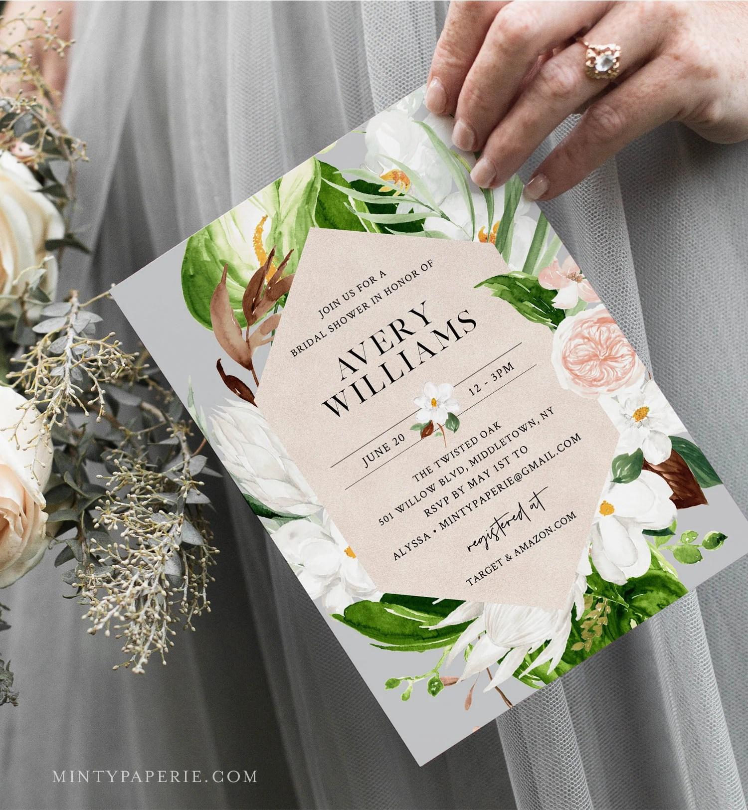 Tropical Bridal Shower Invitation Summer Foliage Printable