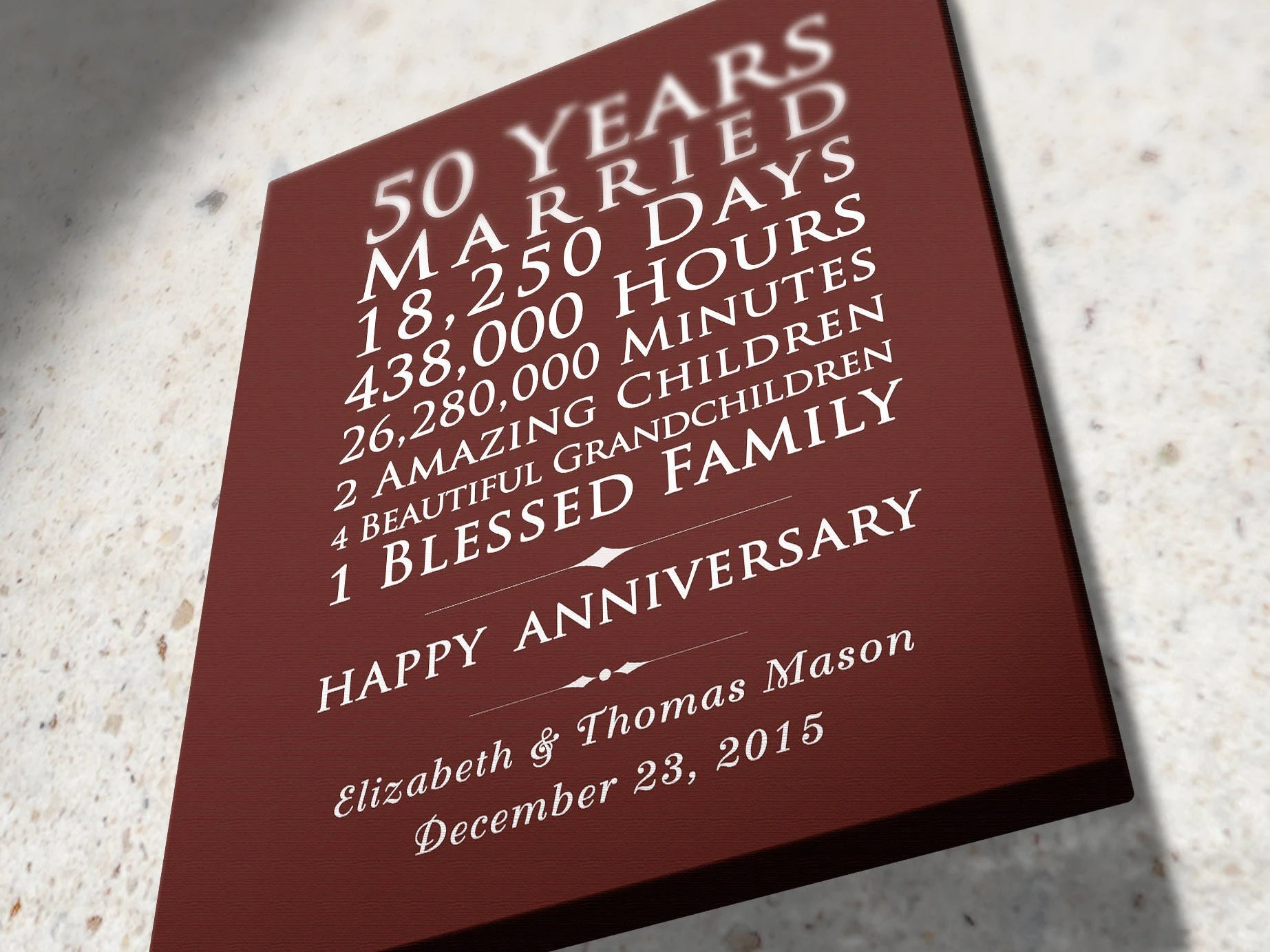 50 Year Married 50th Wedding Anniversary Gift Idea 45th