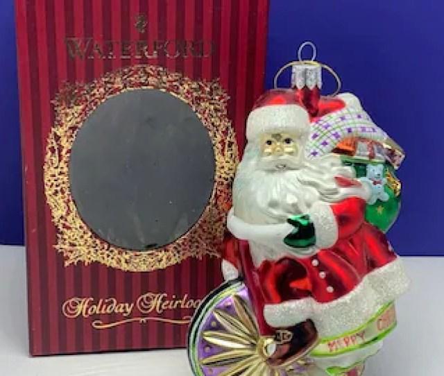 Waterford Holiday Heirlooms Glass Santa Claus Christmas Ornament In Original Box On Bike Bicycle Vintage Vtg Toy Sack Figurine Art Noel