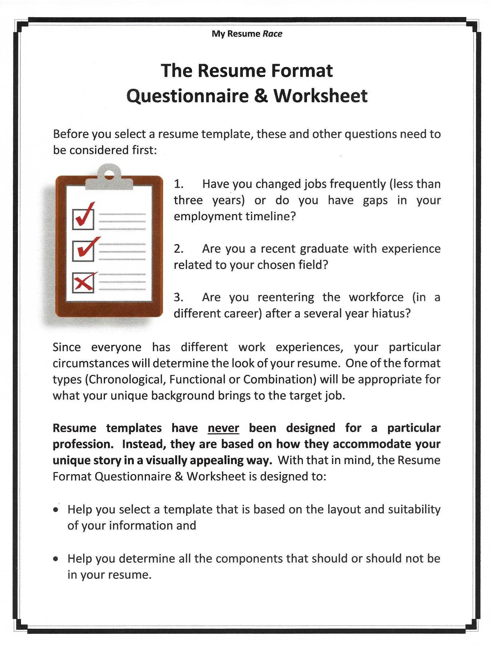 Resume Format Questionnaire Amp Worksheet