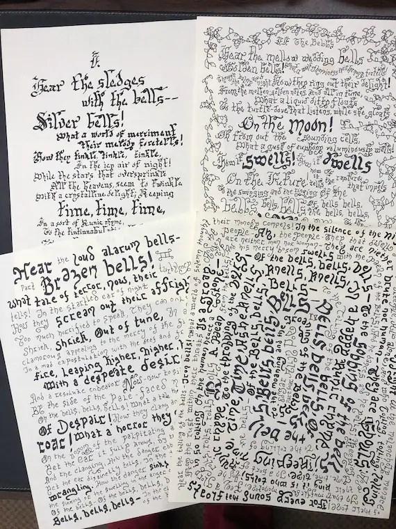 The Bells By Edgar Allan Poe Part I Ii Iii Iv Handwritten Etsy