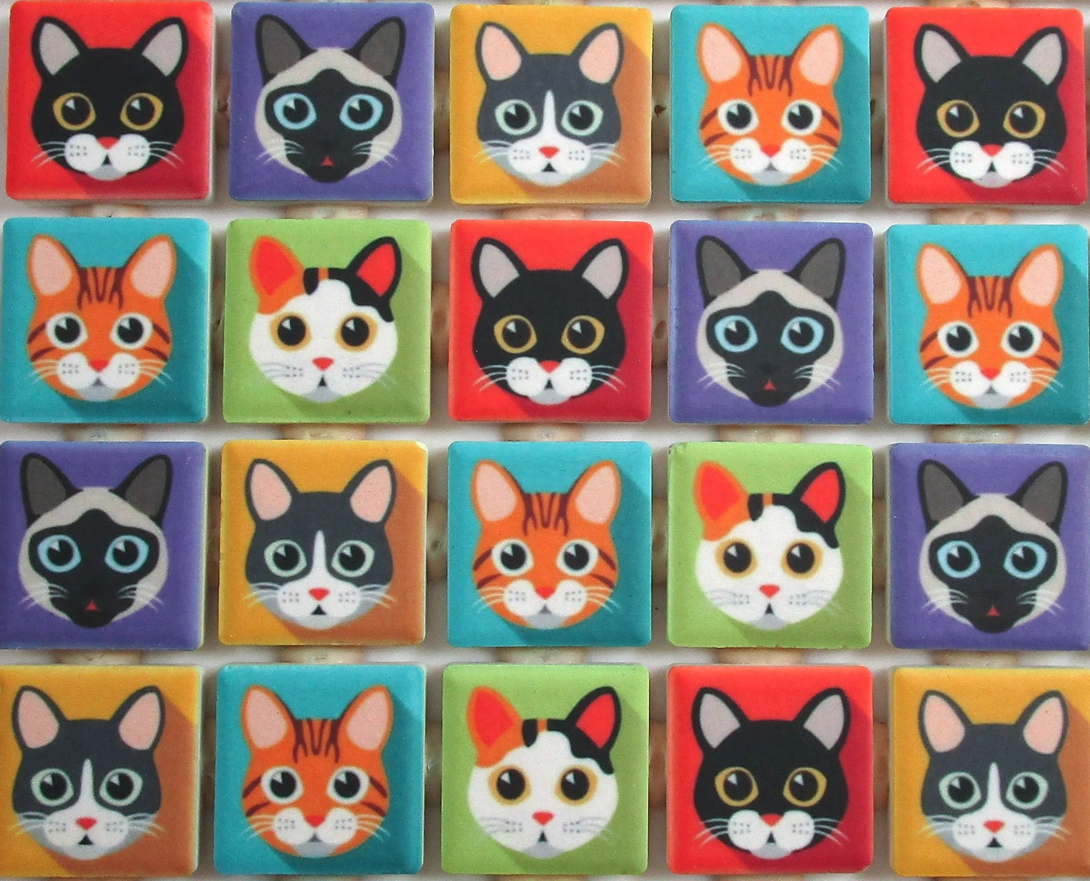 cat tiles etsy