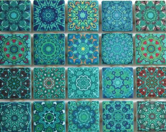 ceramic mosaic tiles turquoise blue green mixed boho etsy