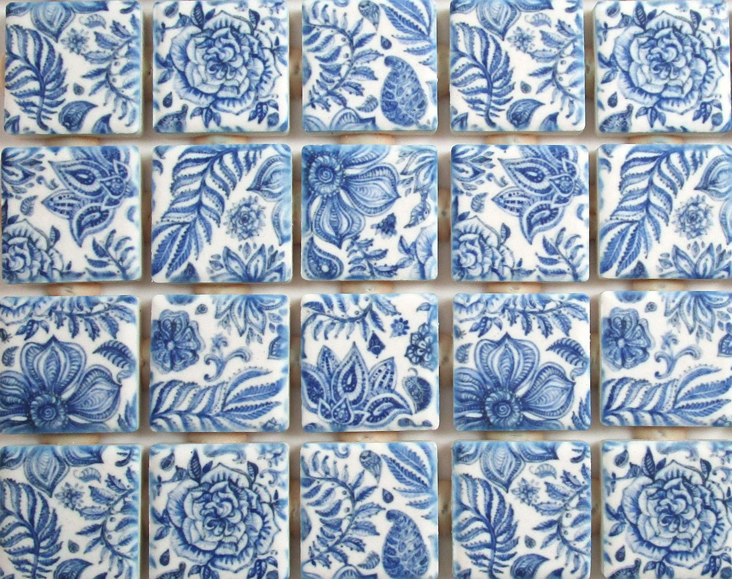 ceramic mosaic tiles blue and white flowers leaves floral mosaic tile pieces 36 pieces for mosaic art mixed media art jewelry