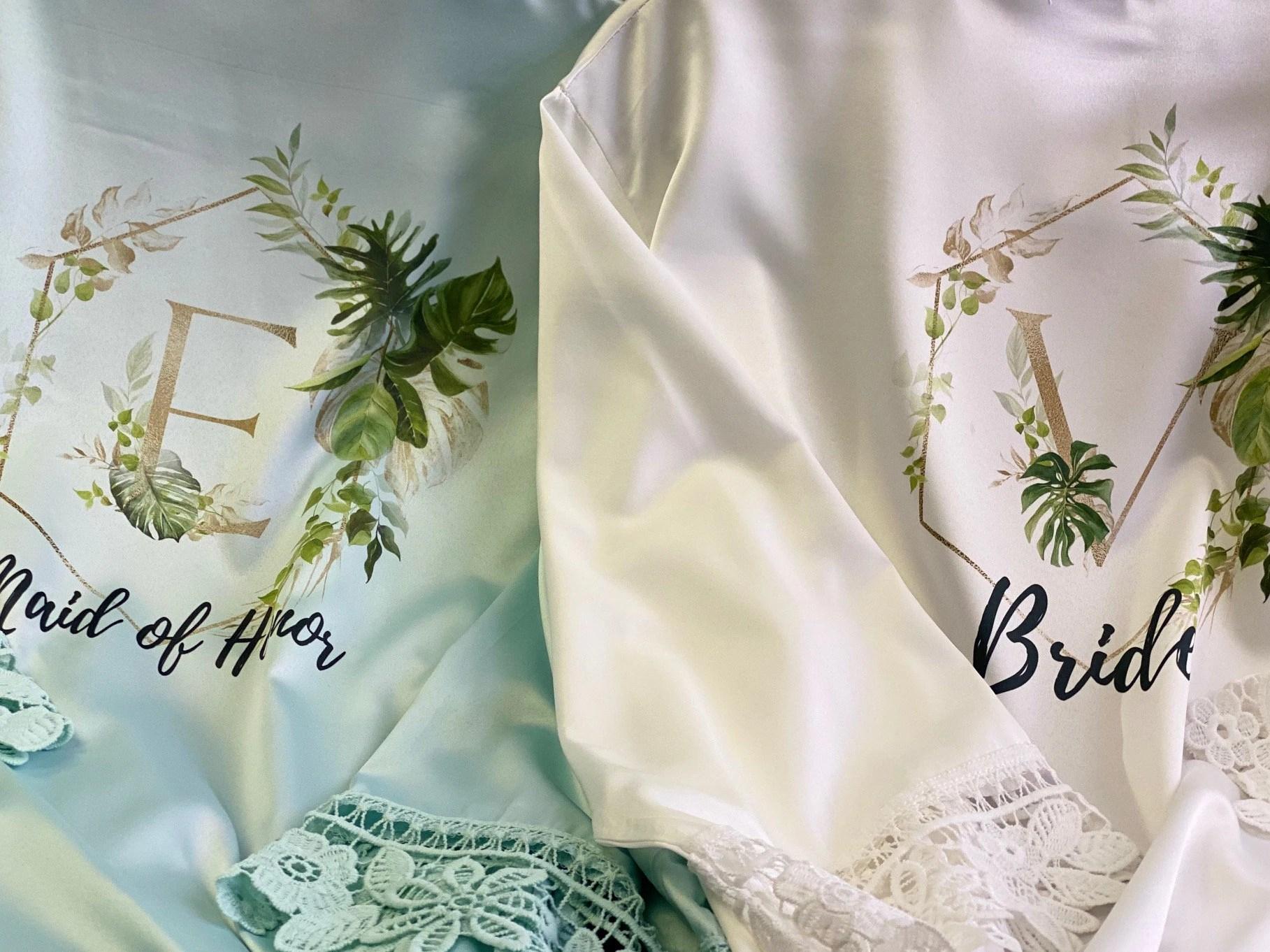 Tropical Wedding Bridal Robes  Bridesmaid Gifts Greenery image 3