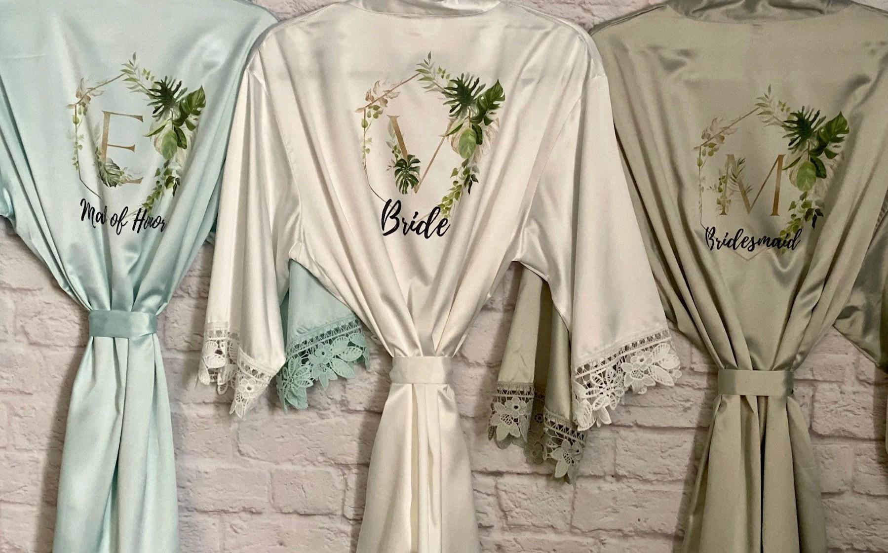 Tropical Wedding Bridal Robes  Bridesmaid Gifts Greenery image 1