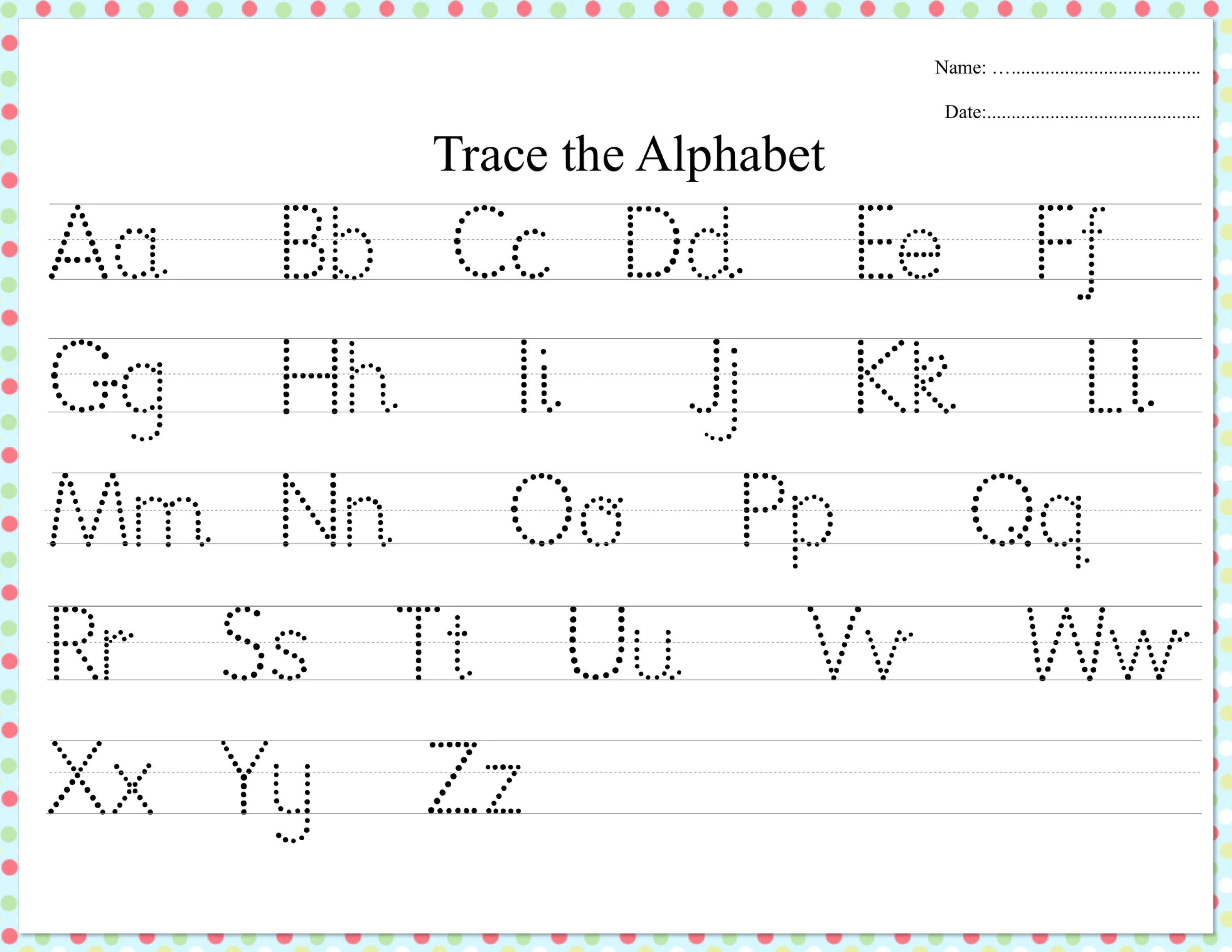 Dotted Alphabet Trace Practice Worksheet