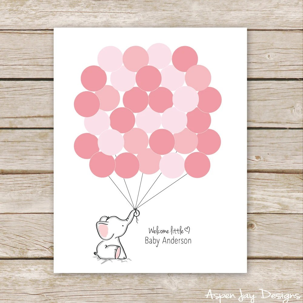 Pink Elephant Guest Book Printable For Baby Shower Birthday Elephant Nursery Art Thumbprint Guestbook Customized Digital File