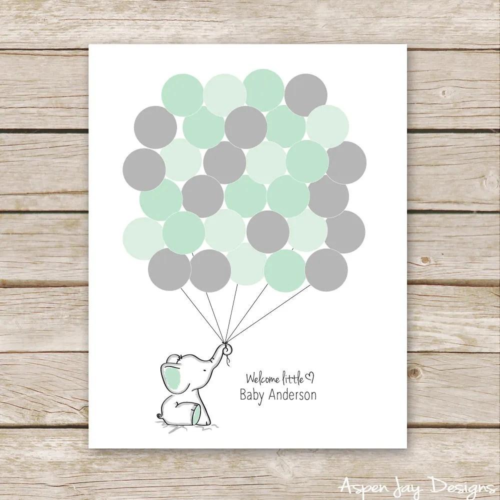 Green Elephant Guest Book Printable For Baby Shower Birthday Mint Green Elephant Nursery Art Thumbprint Guestbook Mint Elephant