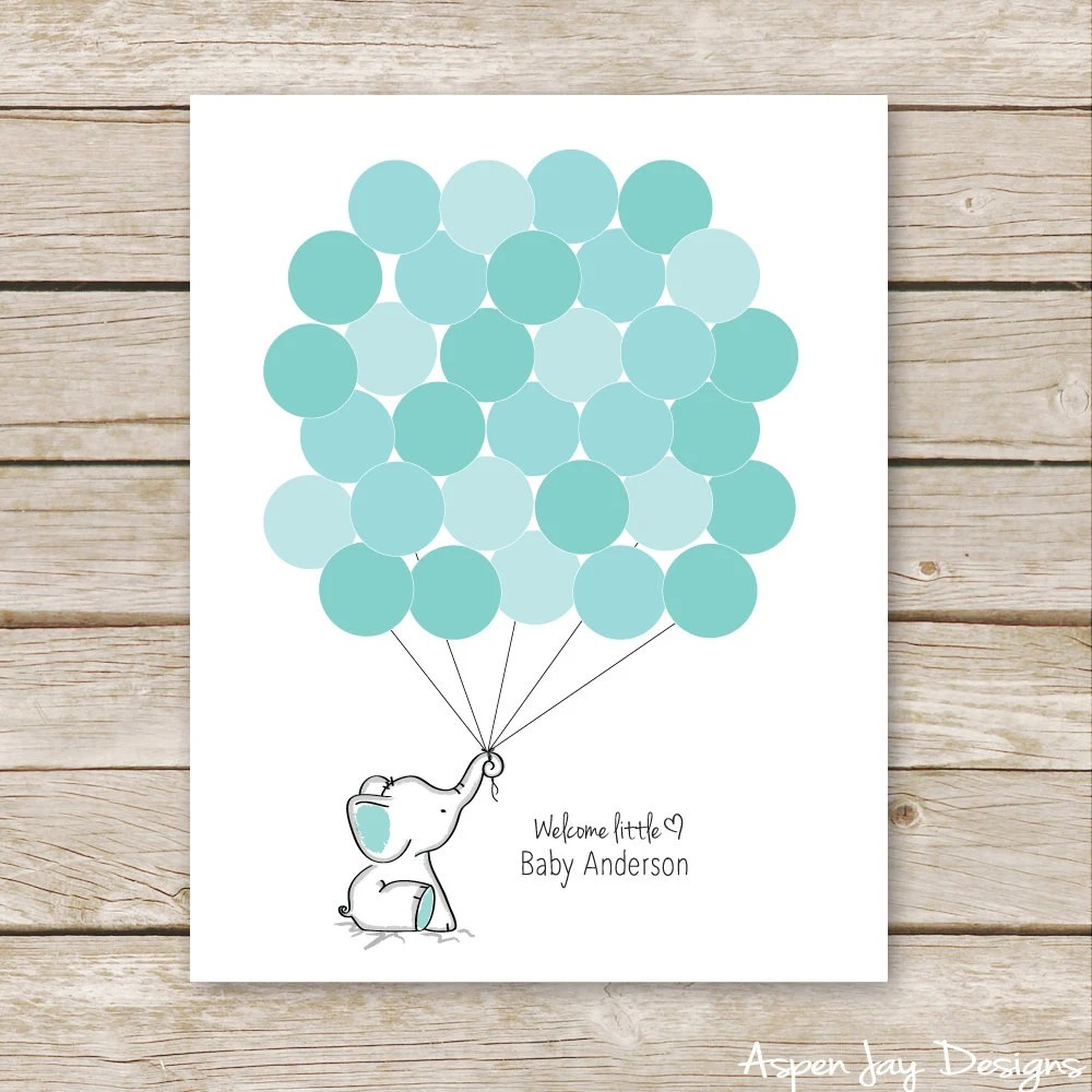 Turquoise Elephant Guest Book Printable For Baby Shower Birthday Turquoise Guestbook Elephant Nursery Art Thumbprint Guestbook