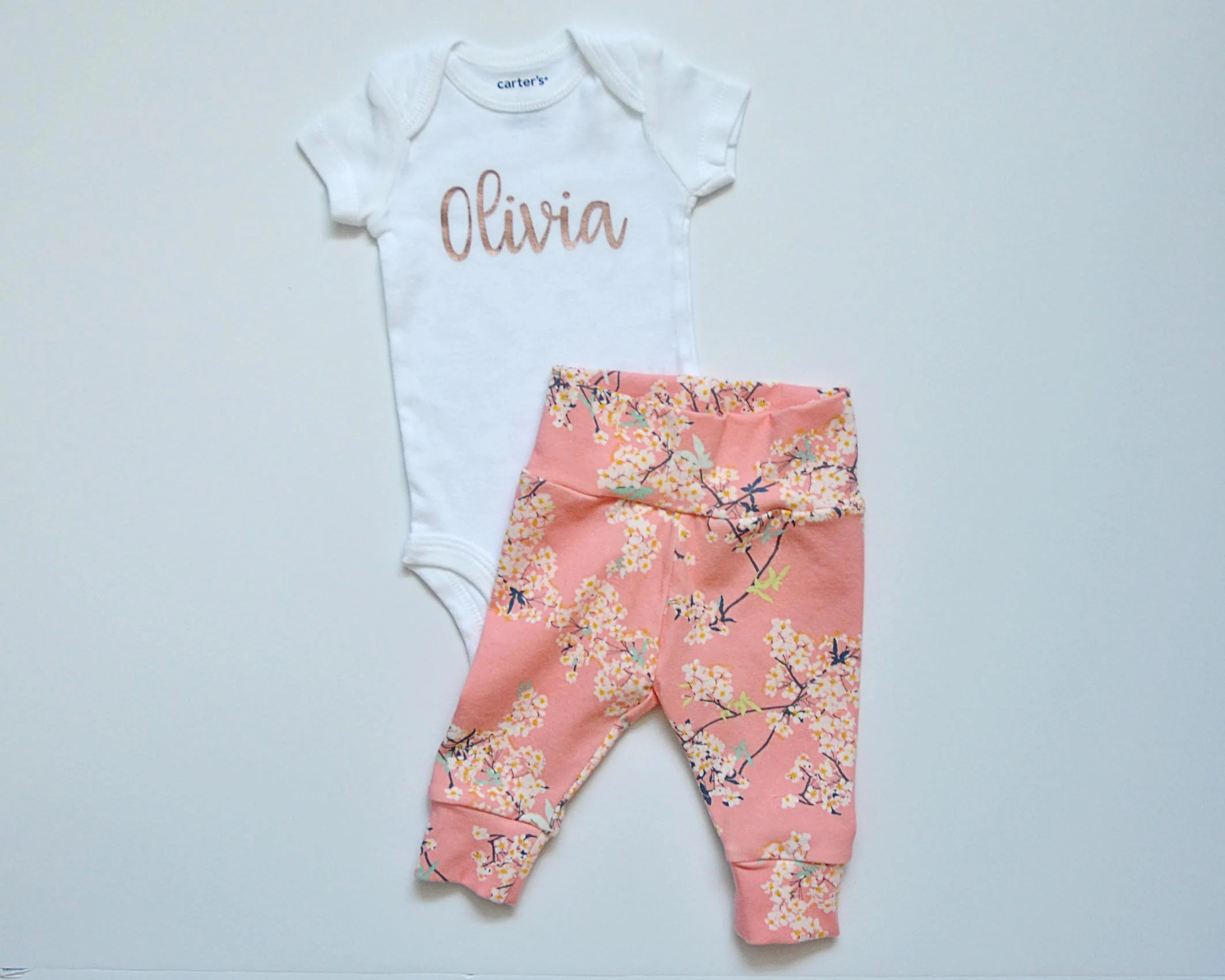 Going Home Set Baby Girl Personalized Baby Name Onesie Bodysuit+Pants