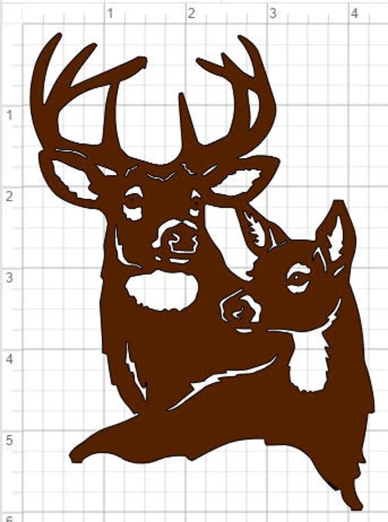 Download Buck and Doe Design SVG pdf eps dxf Studio 3 Cut Files   Etsy