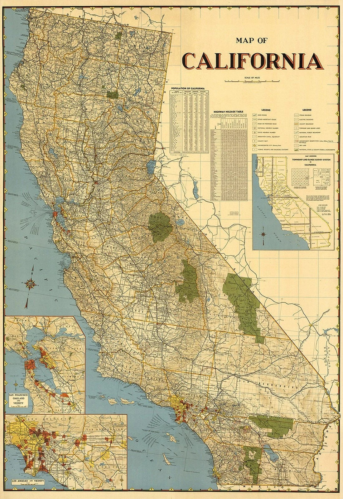 california printable poster vintage map of california digitital print vintage california map wall decoration