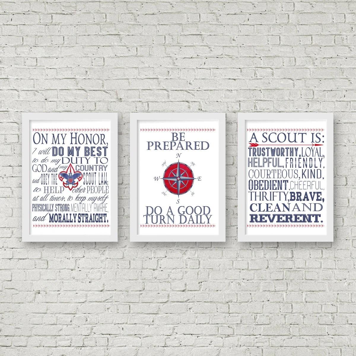 Eagle Scout Digital Printable Art Boy Scout Oath Law Motto