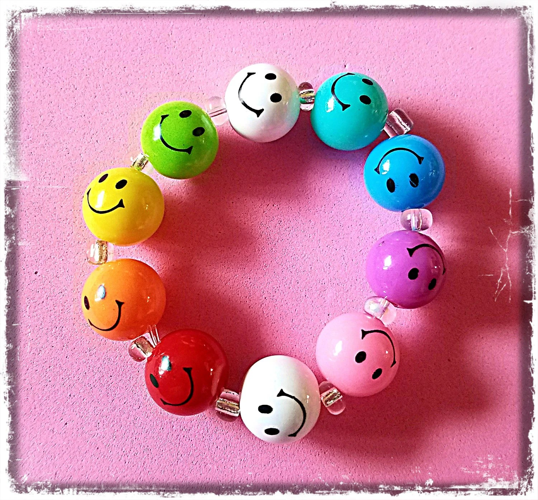 Beaded Bracelet Happy Face Emoji Rainbow Matching