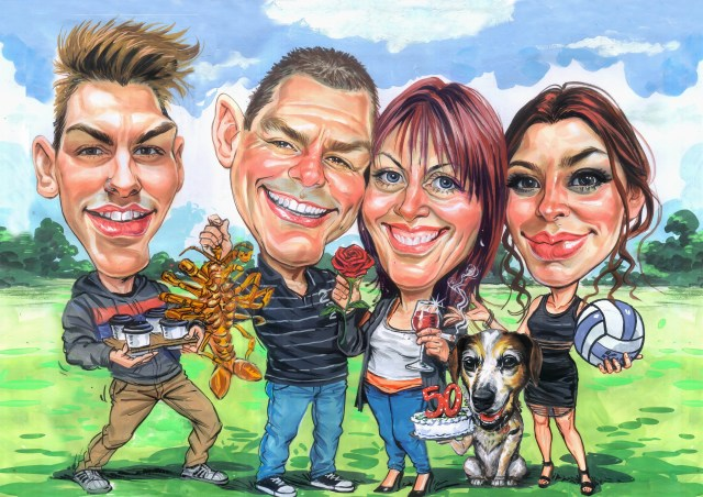 group caricature, custom group caricature from your photos and ideas