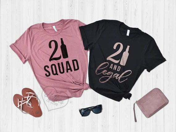 Birthday Shirts 21st Birthday Party T Shirts 21 And Legal Etsy