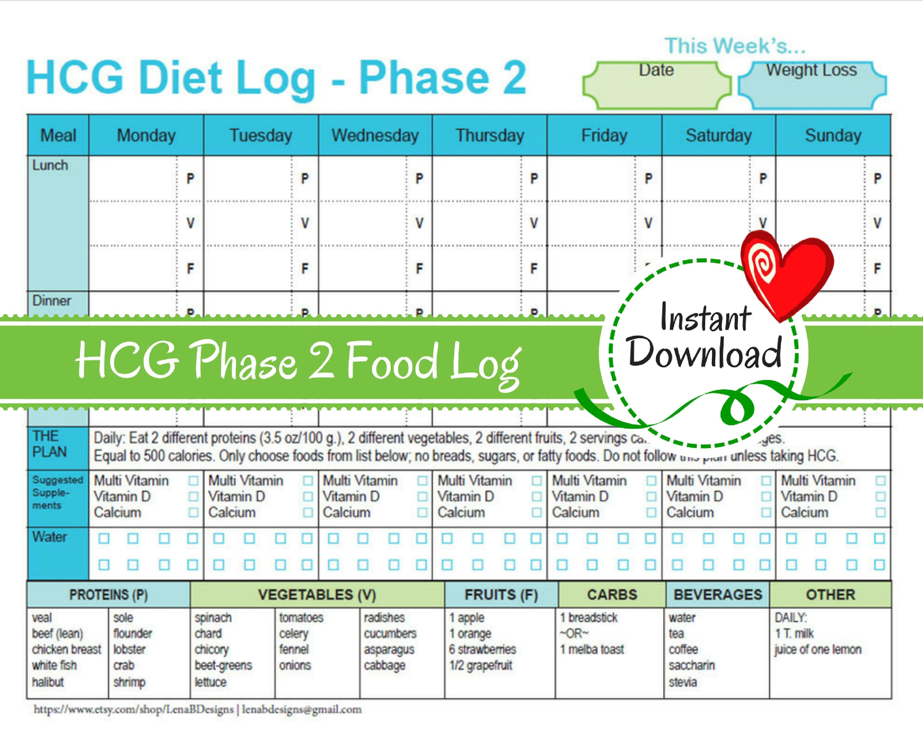 Hcg Weekly Phase 2 Food Tracker Weight Loss Journalt