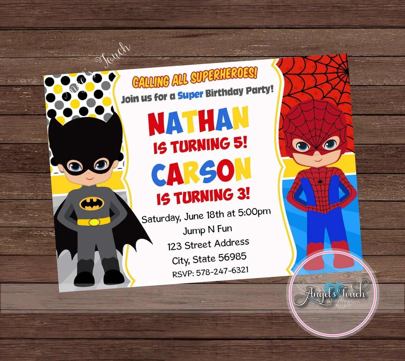 batman and spiderman party invitation spiderman and batman boy birthday invitation batman birthday superhero invitation digital file