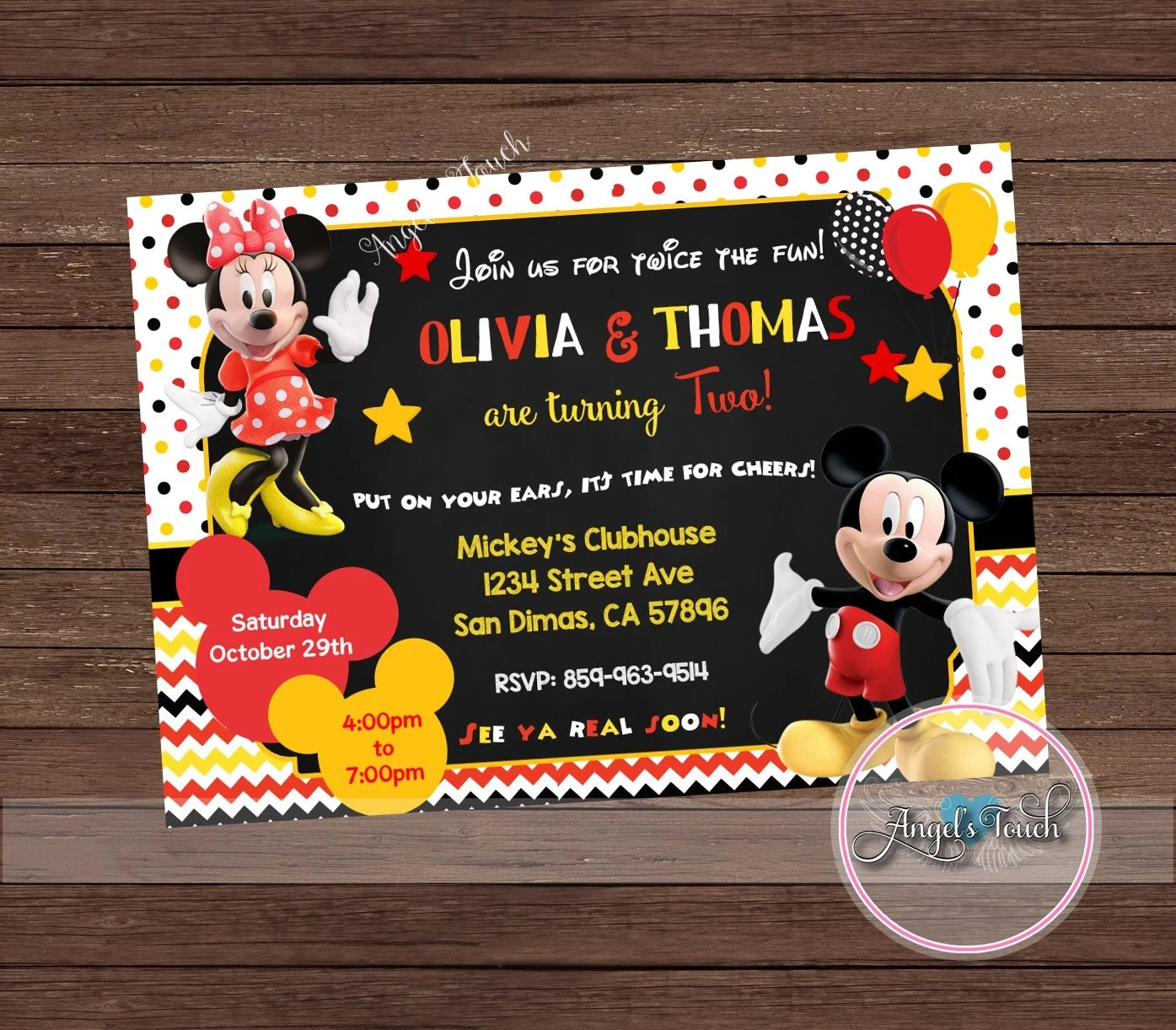 Mickey And Minnie Mouse Combined Party Invitation Mickey Etsy