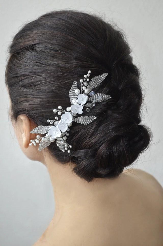 bridal floral leaf hair comb rustic bridal hair piece white wedding silver boho hair comb hair jewelry bridal beaded boho wedding headpiece