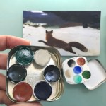Handmade Watercolor Paint Palette Limited Edition 6 Well Ceramic Pans Vintage Typewriter Tin Inspired By Winslow Homer Palette