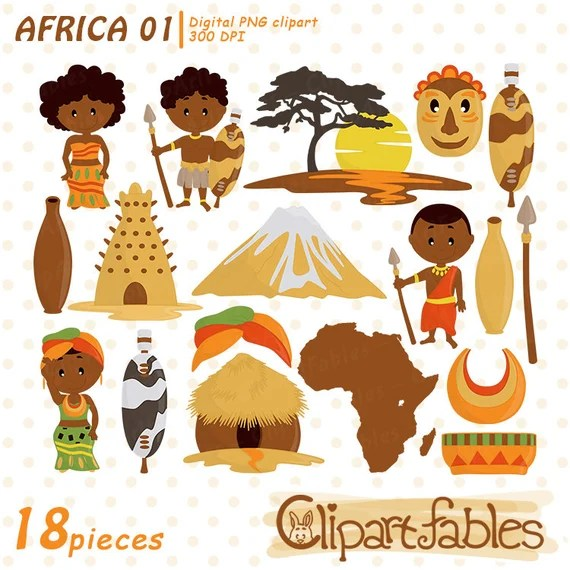 Cute Africa Clipart Zulu Tribe Art Travel Clip Art African Etsy