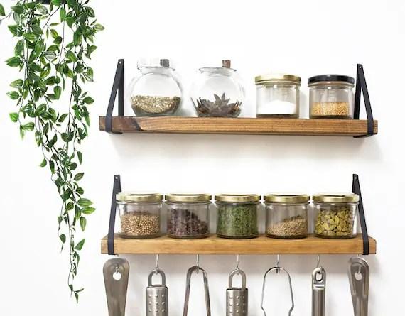 spice rack wall mount wooden spice holder shelf spice rack etsy