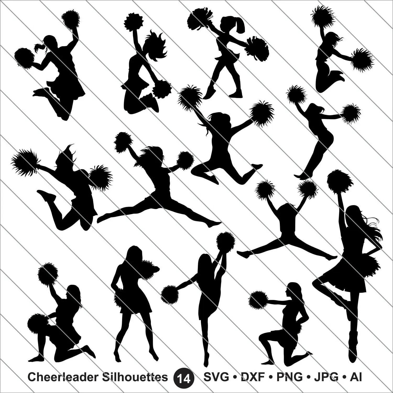 Cheerleader Silhouettes Svg Cheerleader Clipart Bundle Svg